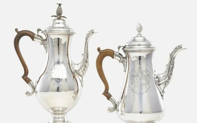 George II, coffee pots, set of two