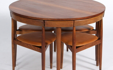 Hans Olsen. Roundette, round teak dining table with four chairs, Model 'Dinette' (5)
