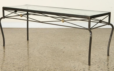 IRON BRONZE COFFEE TABLE MANNER OF JANSEN C.1950