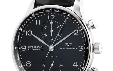 IWC, Ref. IW371447 A fine and well-preserved stainless steel chronograph wristwatch with guarantee and box