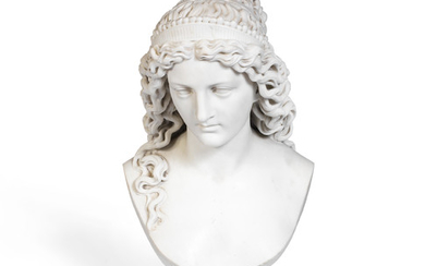 John Thomas (British, 1813–1862): A sculpted white marble bust of a classical maiden
