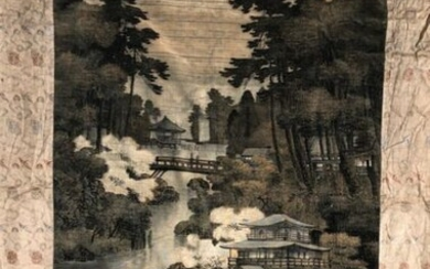 Lake landscape painting, Japan, early 20th century