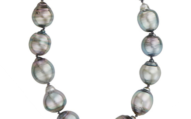 Long Baroque Gray Cultured Pearl Necklace with Gold Clasp
