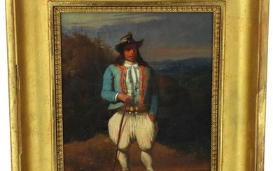 """Louis CARADEC (1802-1882) """"Man in traditional costume in the fashion of the suburbs of Quimper"""", oil on canvas, signed lower left, 27 x 22 cm (rentoilé)"""