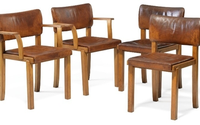 Magnus L. Stephensen: A pair of armchairs and matching pair of side chairs with frames of European pearwood. Upholstered with patinated brown leather. (4)