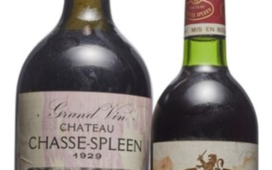 Mixed Château Chasse-Spleen, Château Chasse-Spleen 1929 Corroded capsule, slightly bin-soiled and tissue-stained label Level top shoulder magnum (1) 1982 Stained capsule, bin-soiled, stained, and pen-marked label Level base of neck (1)