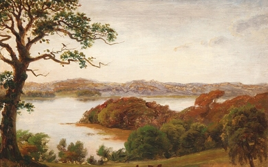 N. G. Rademacher: A view of a lake on a summer day. Signed N. C. Rademacher. Oil on canvas laid on canvas. 22×32 cm.