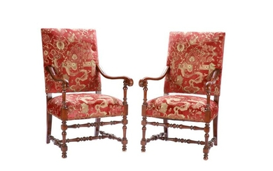 PAIR OF FRENCH LOUIS XIV STYLE OPEN ARMCHAIRS