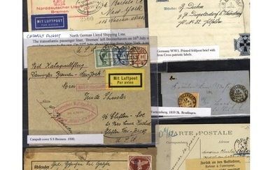 POSTAL HISTORY 50+ items from pre-stamp to 1950's, better no...
