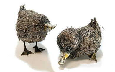 Pair 800 Silver Furry Duckling Figurines