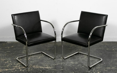 Pair, Brueton Leather and Stainless Tubular Chairs