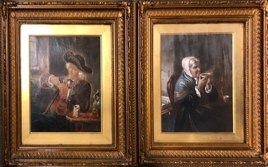 Pair Late C19th Dutch Portraits on Canvas Male & Female 'Cup...