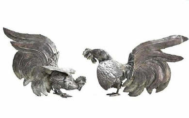 Pair Peruvian Sterling Silver Fighting Cocks Figurines