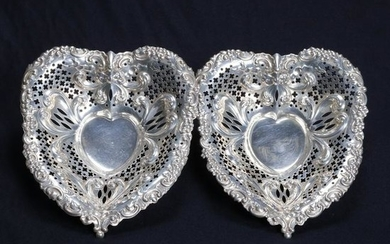 2 Lg Sterling Silver Gorham Heart Reticulated Nut Bowls