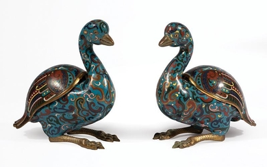 Pair of Chinese Cloisonné Enamel Covered Censers