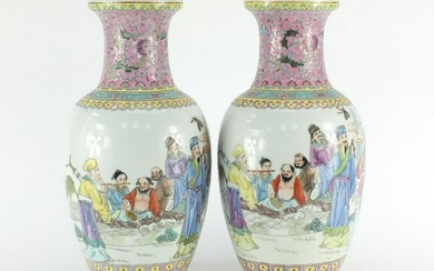 Pair of Chinese porcelain vases, each finely hand