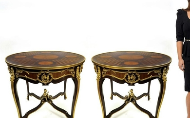 Pair of Figural Bronze Mounted Inlaid Wood Round Tables