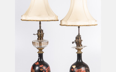 Pair of Japanese Lacquered Electrified Oil Lamps
