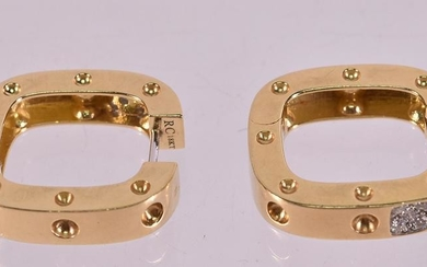 "Pair of Roberto Coin ""Pois Mois"" Gold Earrings"