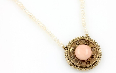 Pendant with coral and granulates, german approx....