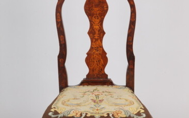 QUEEN ANNE STYLE DUTCH MARQUETRY INLAID SIDE CHAIR, 19th century....