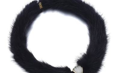 ROCK CRYSTAL, DIAMOND AND MINK FUR NECKLACE, FRED