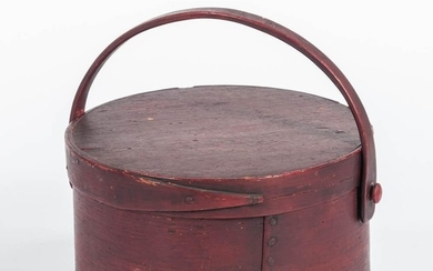 Red-painted Swing-handle Pantry Box, ht. 6 1/2, dia. 11 1/2 in.