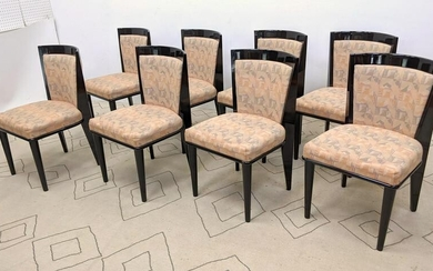 Set 8 High Lacquer Italian Style Dining Chairs. Black F