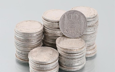Set of eighty-four silver coins 10 Francs 1933,...