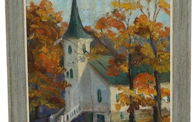 Signed, American School Painting of a Church