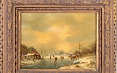 Signed Petersen, Winter landscape with figures on the