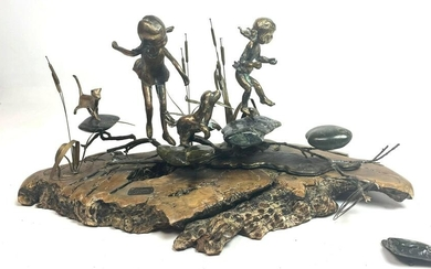 Signed and Numbered Bronze and Wood Table Sculpture. Ch