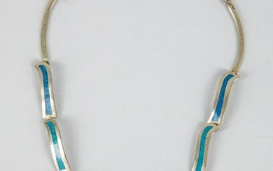 Southwestern Geometric Inlaid Sterling Silver Necklace