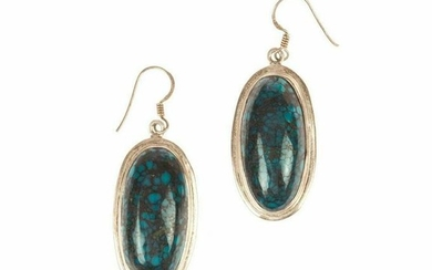 Sterling Silver and Blue Turquoise Cabochon Earrings