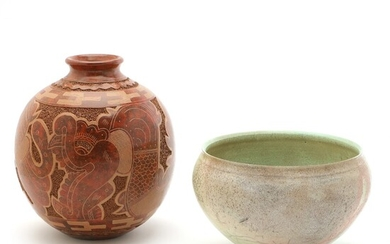 Unknown artists: A round vase and bowl of earthenware. (2)