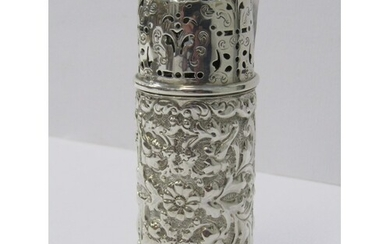 VICTORIAN SILVER DREDGER, fine HM silver embossed cylindrica...
