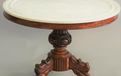 Victorian round marble top center table, white marble