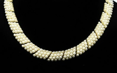 Vintage Gilt Metal & Faux Pearl Necklace & Earring