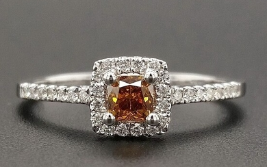 0.50ct Natural Fancy Vivid Orange, Diamonds - 14 kt. White gold - Ring - ***No Reserve Price***