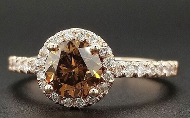 1.33ct Natural Fancy Vivid Orange Brown, Diamonds - 14 kt. Pink gold - Ring - ***No Reserve Price***
