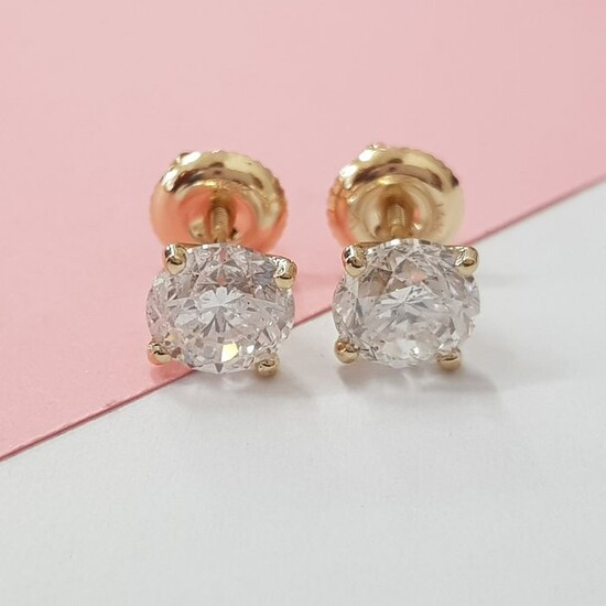 14 kt. Yellow gold - Earrings - 1.50 ct Diamond - D VS1