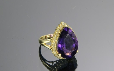 14K Gold, Amethyst & Diamond Ring