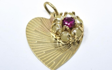 14kt Yellow Gold Faux Pearl & Ruby Heart Charm