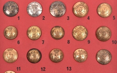 16 Scottish Local Militia buttons c 1810-30: open backed gil...