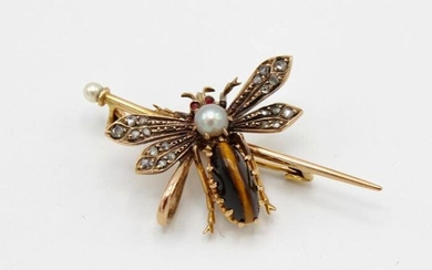 18 kt. Yellow gold - Brooch tigereye - rose diamonds and pearl