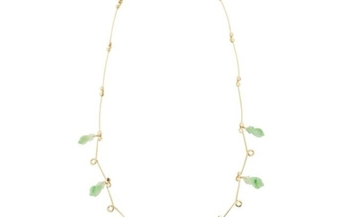 18 kt. Yellow gold - Necklace with pendant - 17.00 ct Natural imperial jade