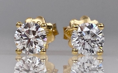 18 kt. Yellow gold earrings - with 0.81ct diamonds, Without reserve price!