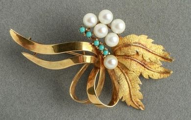 18K Yellow Gold Pearls & Turquoise Brooch