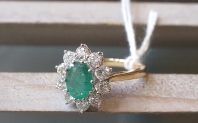18ct Yellow gold oval emerald and diamond cluster ring, the ...