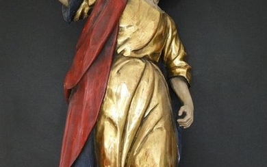 Sculpture, Great saint figure - Baroque style - Wood - 19th century